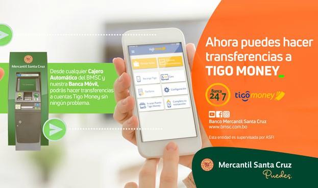 Banco Mercantil brinda servicios de Tigo Money en sus cajeros