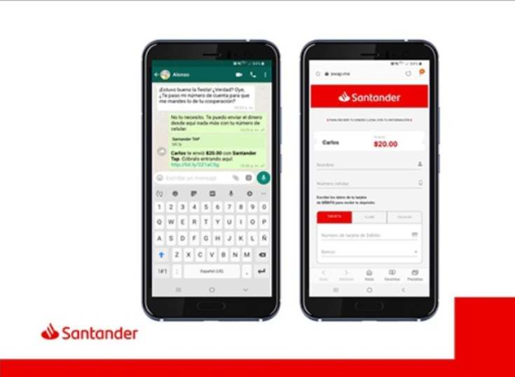 Banco Santander México anuncia transferencias por WhatsApp